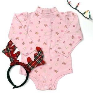 Nursery Rhyme Pink Christmas Print Turtleneck Top